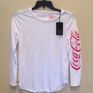 CHASER Coca Cola Top Long Sleeve Tee Shirt NWT